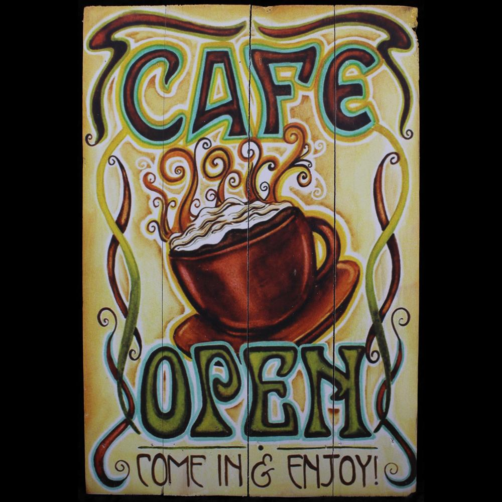 Cafe Open Wood Sign-Handicrafts-Peaceful People