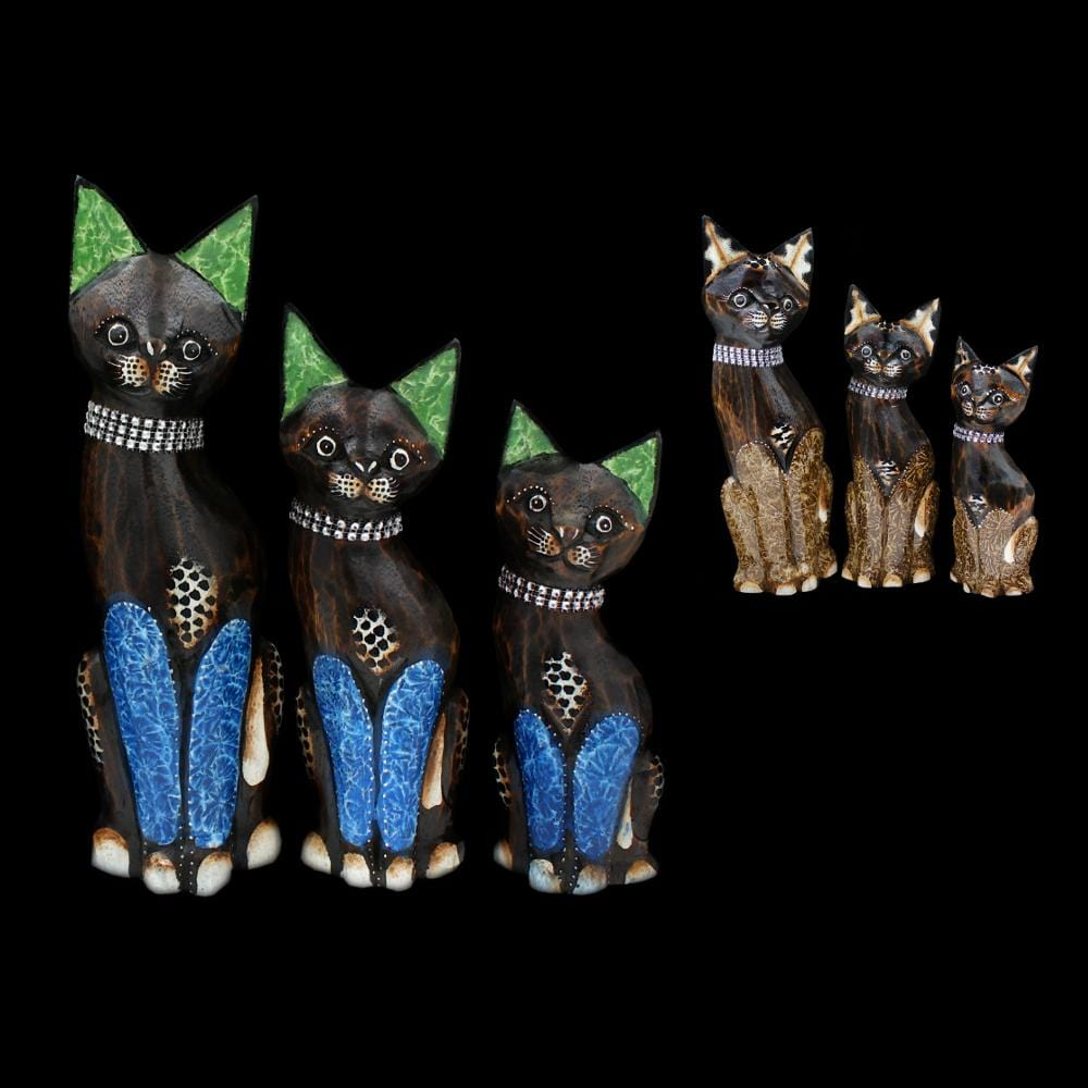 Set of 3 Cat Carvings-Handicrafts-Peaceful People