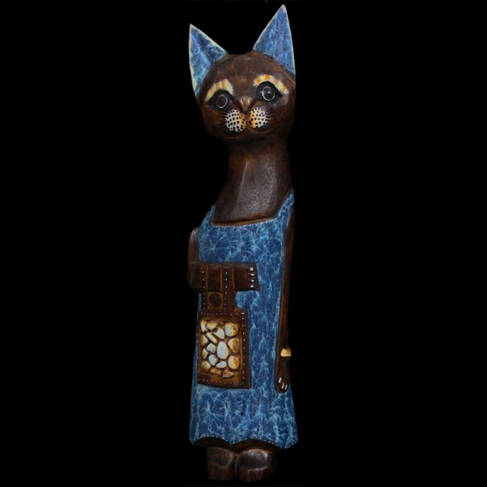 Cat with Purse Carving-Handicrafts-Peaceful People
