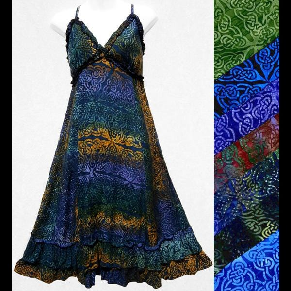 Jordan's Celtic Batik Ruffled Dress-Dresses-Peaceful People