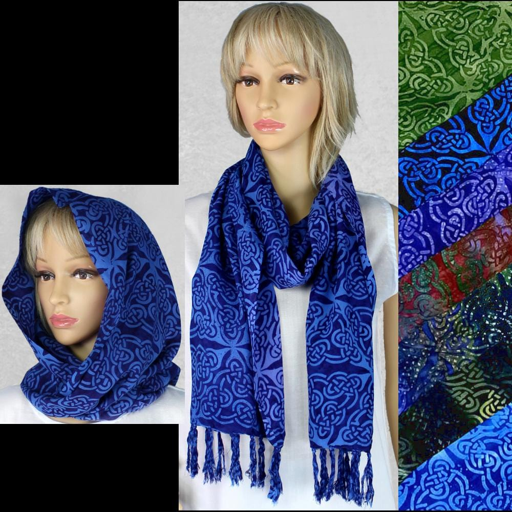 Premium Batik Celtic Thin Scarf-Tie-Dye Blanks/White Clothing-Peaceful People
