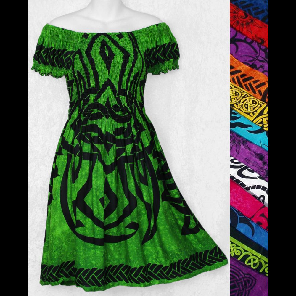 Celtic Short Sleeve Sarong Dress-Dresses-Peaceful People