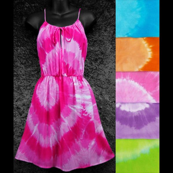 Tie-Dye Circle Drawstring Sarong Dress-Dresses-Peaceful People