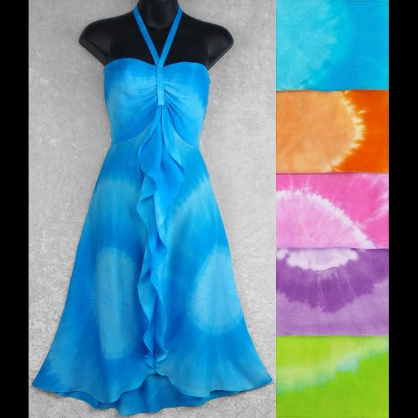 Gigi's Tie-Dye Circle Front Ruffle Sarong Dress-Dresses-Peaceful People
