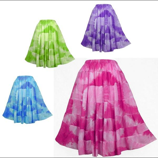 Circle Tie-Dye Tiered Skirt-Skirts-Peaceful People