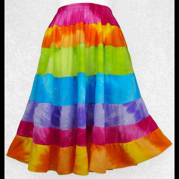 Mixed Rainbow Tie-Dye Tiered Skirt-Skirts-Peaceful People