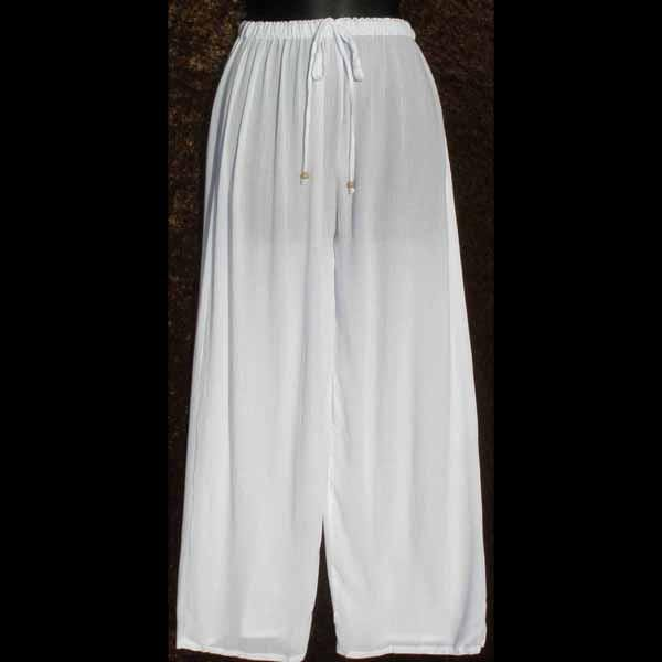 White Crinkle Long Pants-Tie-Dye Blanks/White Clothing-Peaceful People