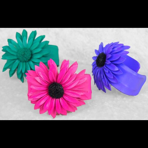 12 Leather Flower Cuff Bracelets ($0.95 each)-Bracelets & Jewelry-Peaceful People