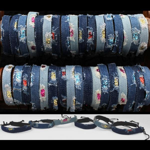 50 Distressed Denim Bracelets ($0.45 each)-Bracelets & Jewelry-Peaceful People