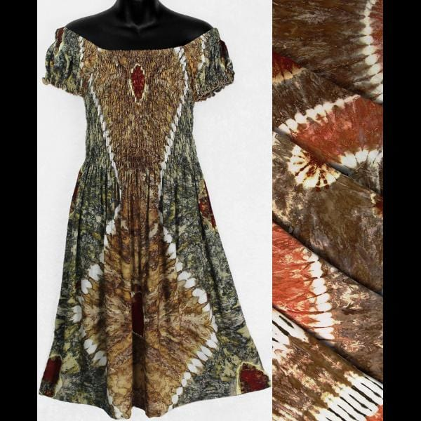 Earthy Tie-Dye Short Sleeve Sarong Dress-Dresses-Peaceful People