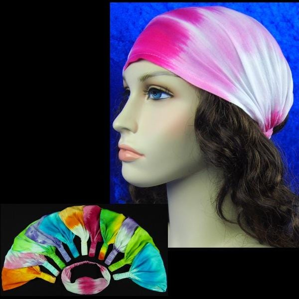 12 Hippy Mix Tie-Dye Elastic Bandana-Headbands ($1.60 each)-Bags & Accessories-Peaceful People