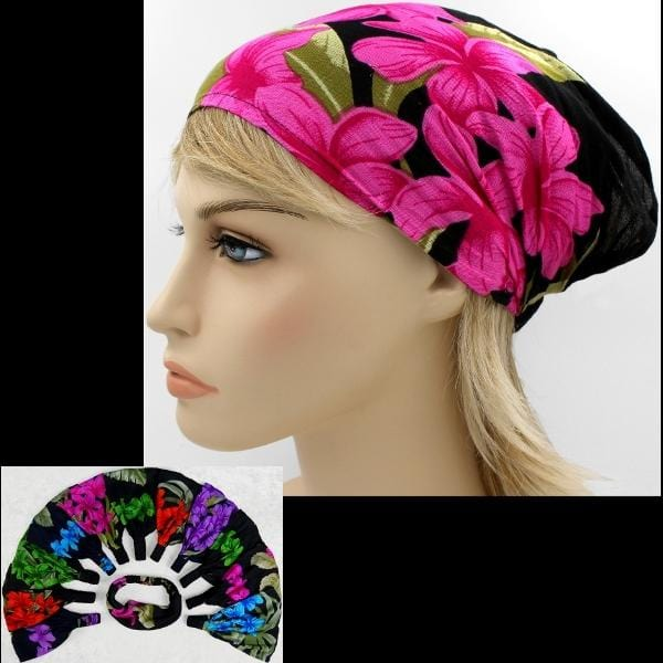 12 Orchid & Hibiscus Elastic Bandana-Headbands ($1.60 each)-Bags & Accessories-Peaceful People