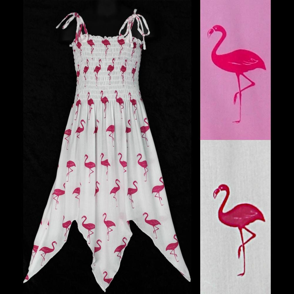 Girl's Flamingo Fairy Dress (Ages: 4, 6, 8)-Children's Clothes-Peaceful People