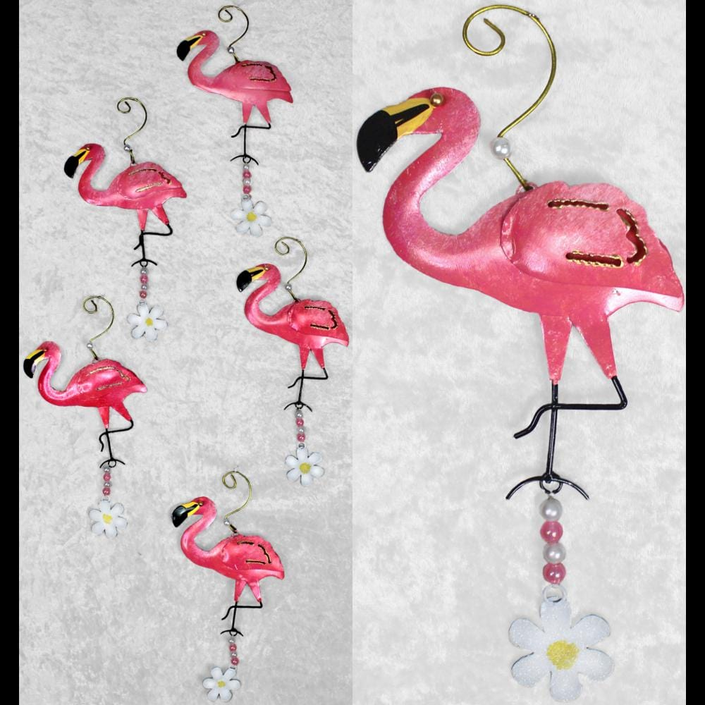 Set of 12 Flamingo Ornaments ($1.95 each)-Handicrafts-Peaceful People