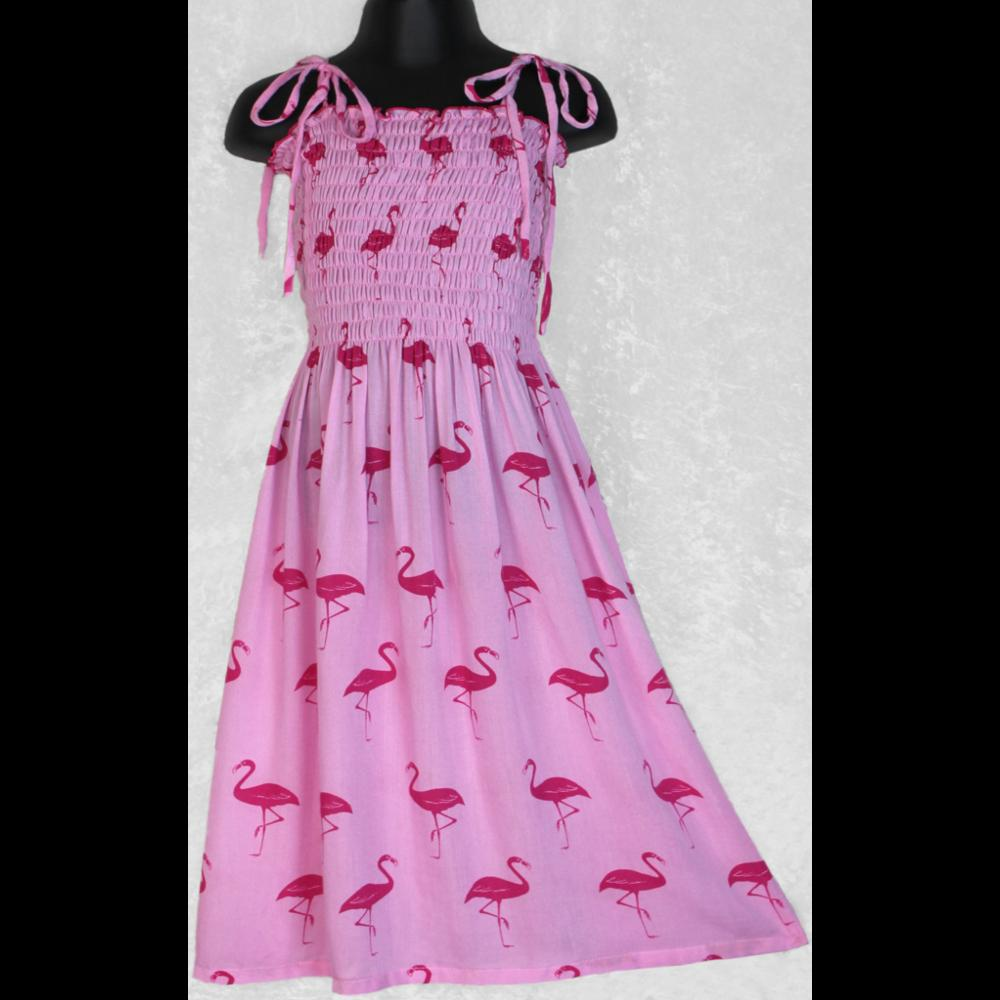 Girl's Flamingo Dress (Ages: 4, 6, 8)-Children's Clothes-Peaceful People