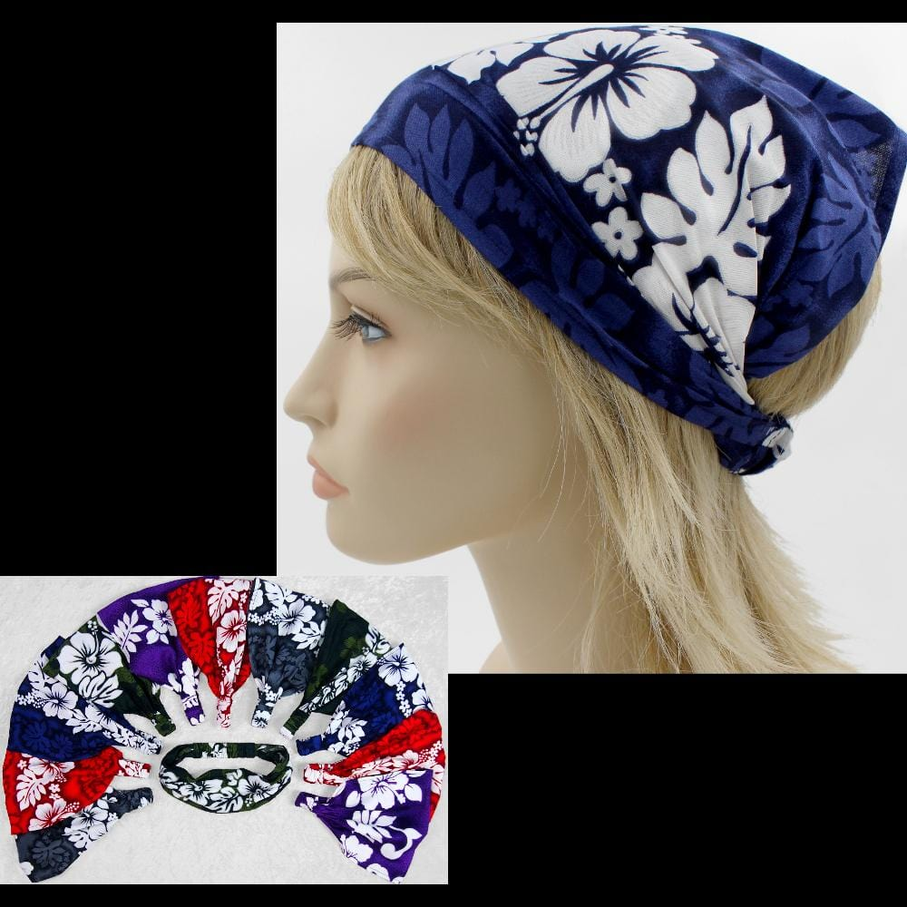 12 Hibiscus Floral Elastic Bandana-Headbands ($1.60 each)-Bags & Accessories-Peaceful People