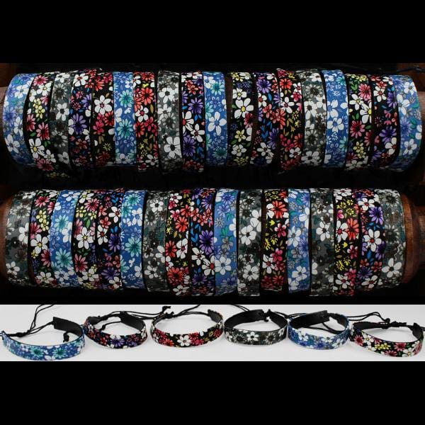 50 Flower Power Flat Bracelets ($0.44 each)-Bracelets & Jewelry-Peaceful People