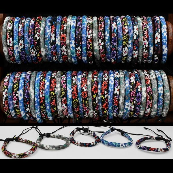 50 Flower Power Round Bracelets ($0.44 each)-Bracelets & Jewelry-Peaceful People