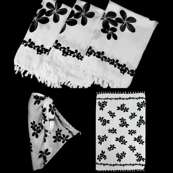 Black and White Frangipani Sarongs-Sarongs-Peaceful People
