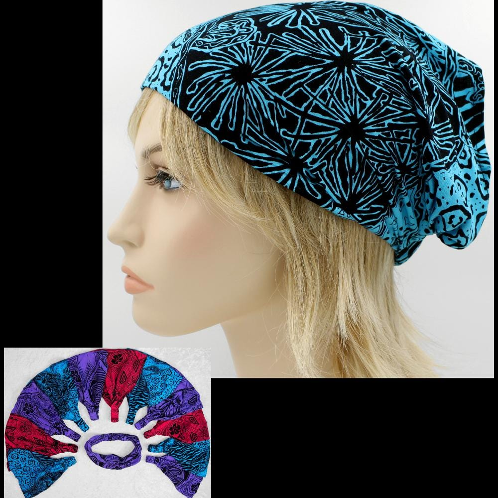 Coral, Purple, Turquoise and Grey Elastic Bandana-Headbands ($1.60 each)-Bags & Accessories-Peaceful People