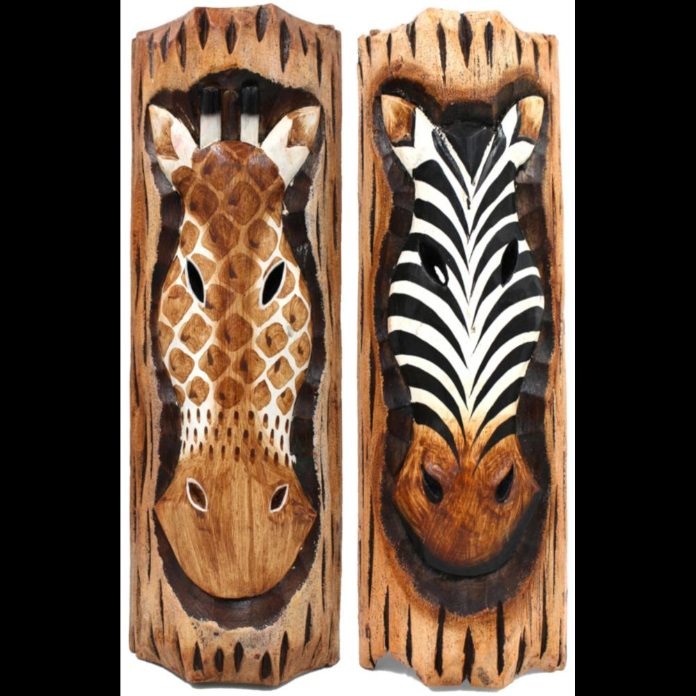 Giraffe or Zebra Log Carving-Handicrafts-Peaceful People