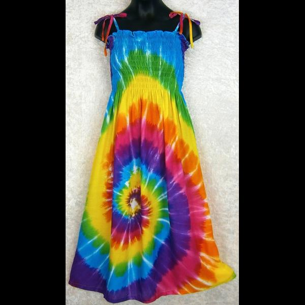 Girl's Rainbow Spiral Tie-Dye Dress (Ages: 4, 6, 8, 12)-Dresses-Peaceful People