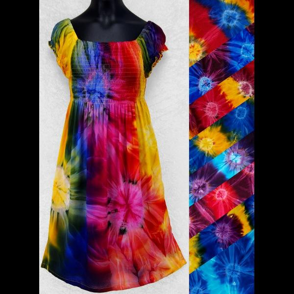 Girl's Tie-Dye Short Sleeve Dress (Ages: 4, 6, 8, 10, 12)-Children's Clothes-Peaceful People