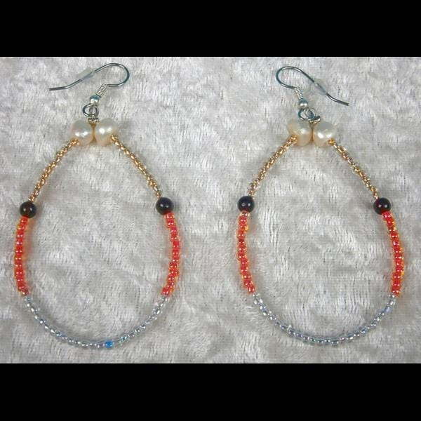 Gold, Orange and White Beaded Hoop Earrings-Bracelets & Jewelry-Peaceful People