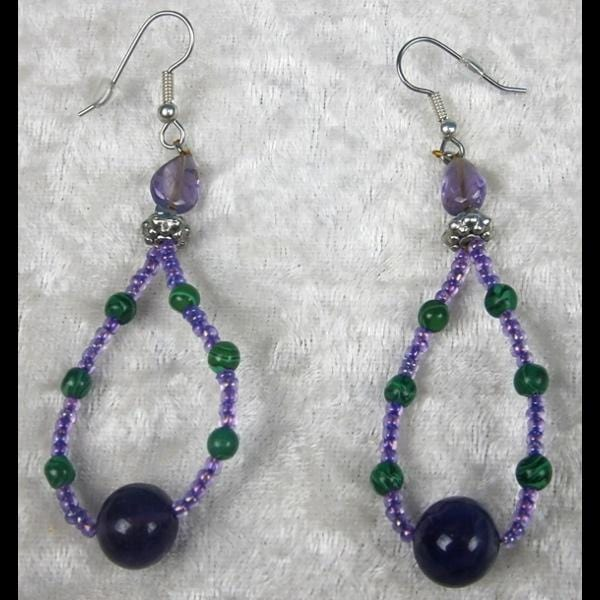 Green and Purple Beaded Hoop Earrings-Bracelets & Jewelry-Peaceful People