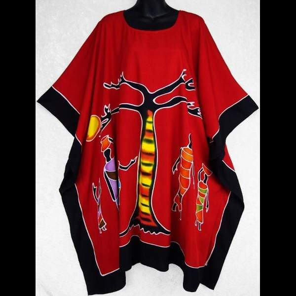 Hand-Painted Batik African Poncho-Tops-Peaceful People