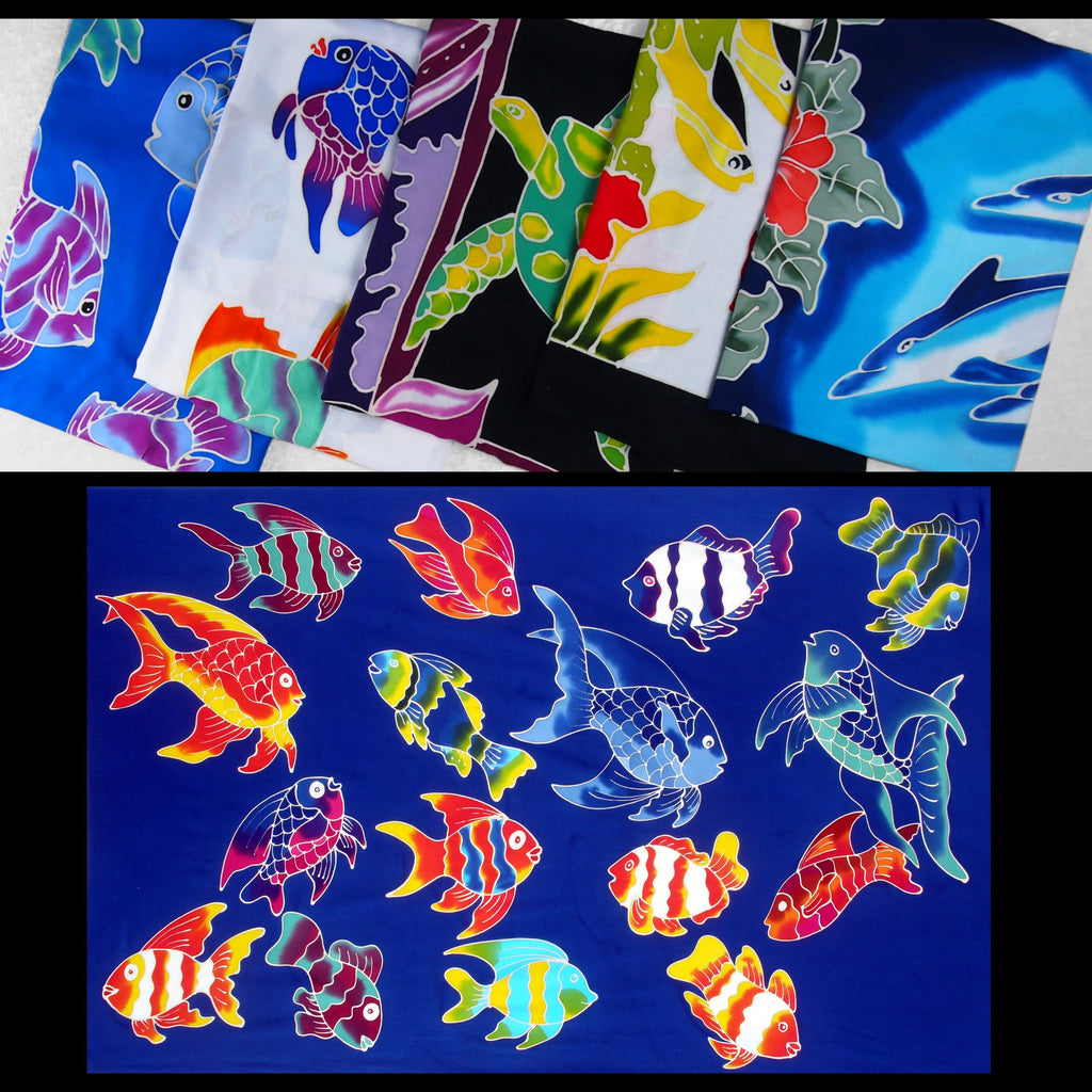 Hand-Painted Batik Sealife Sarongs-Sarongs-Peaceful People
