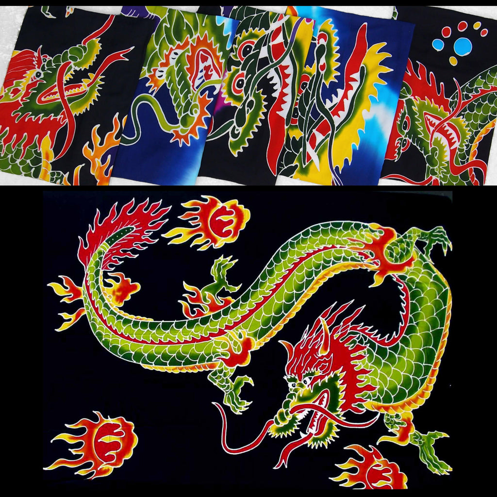 Hand-Painted Batik Dragon Sarongs-Sarongs-Peaceful People