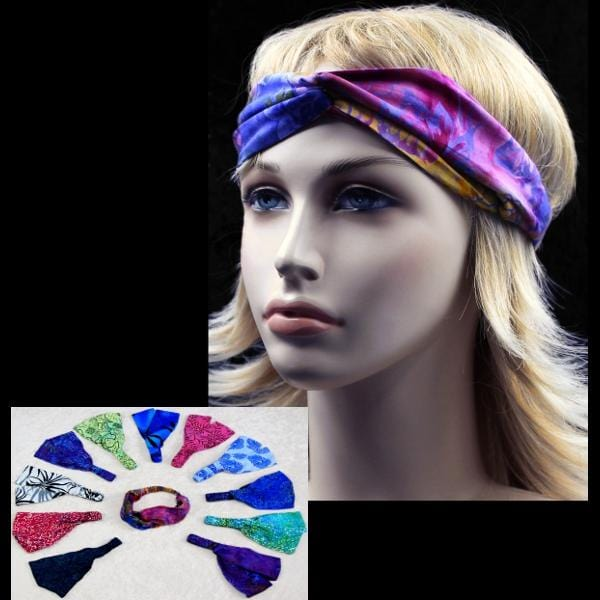 12 Premium Batik Twisted Turban Elastic Headbands ($1.80 each)-Bags & Accessories-Peaceful People