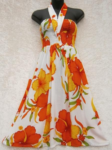Bright Flower Ribbon Sarong Dress-Dresses-Peaceful People