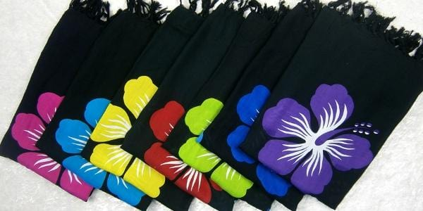 Hibiscus on Black Sarongs-Sarongs-Peaceful People