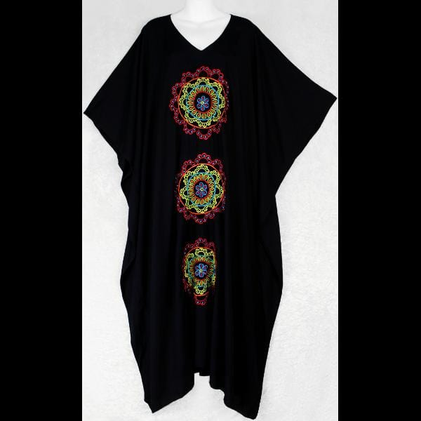 Jampa's Black Embroidered Kaftan-Tops-Peaceful People
