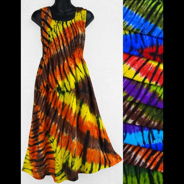 Karma Tie-Dye Sarong Tank Dress-Dresses-Peaceful People