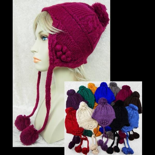 6 Knit Boarder Hat with Ties ($5.90 each)-Bags & Accessories-Peaceful People