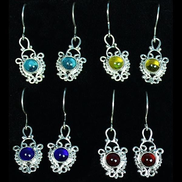 Sterling Silver Single Stone Earrings-Bracelets & Jewelry-Peaceful People