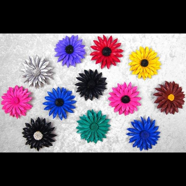 12 Leather Flower Brooches ($0.75 each)-Bracelets & Jewelry-Peaceful People