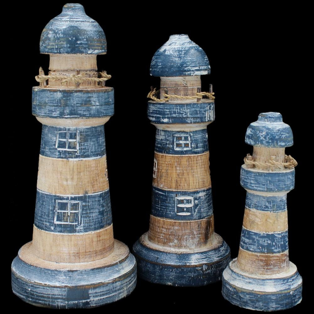 Set of 3 Lighthouse Carvings-Handicrafts-Peaceful People