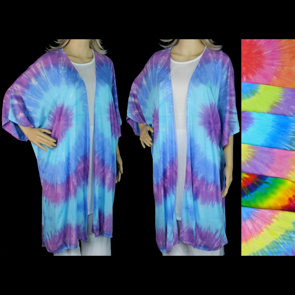Soft Tie-Dye Long Kimono-Tops-Peaceful People