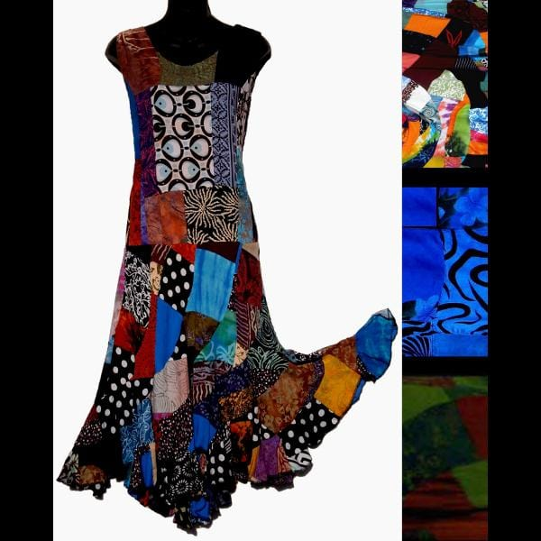 Janet's Patchwork Swirl Dress-Dresses-Peaceful People