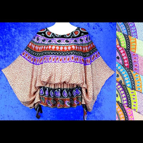Paisley Mandala Butterfly Poncho Top-Tops-Peaceful People