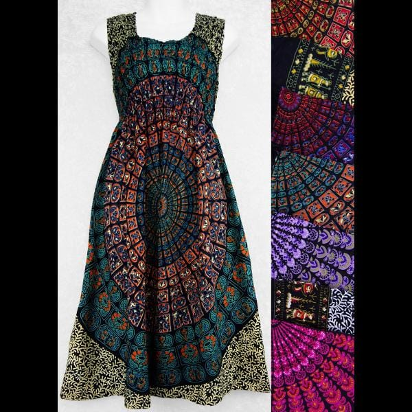 Primitive Mandala Sarong Tank Dress-Dresses-Peaceful People