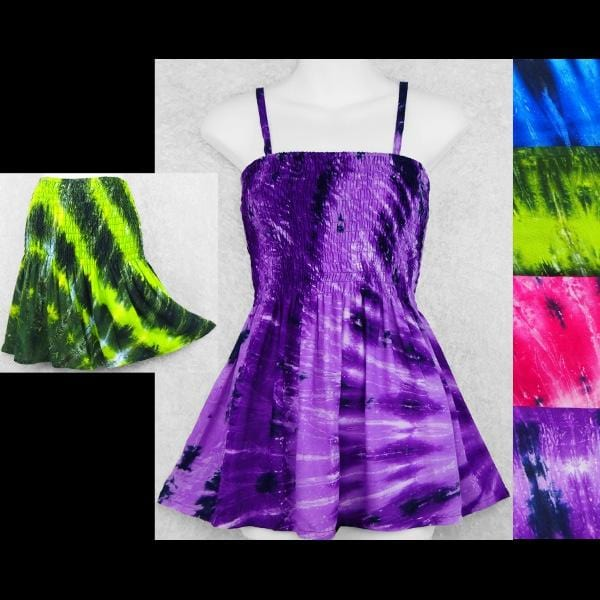Spiral Nebula Tie-Dye Baby Doll Convertible Top/Skirt-Tops-Peaceful People