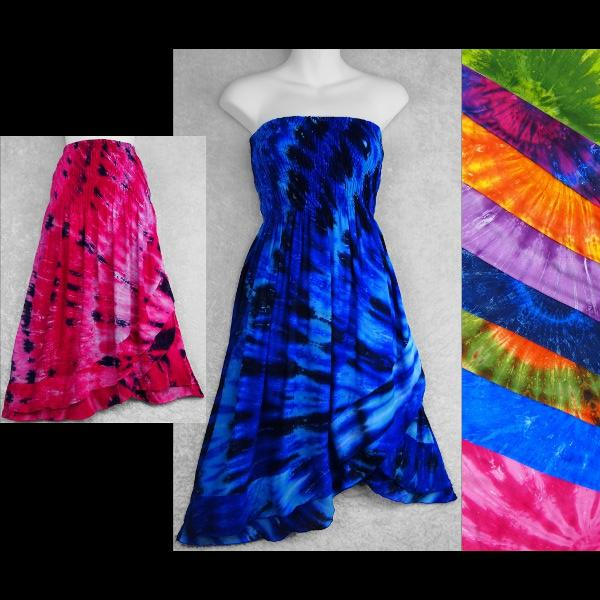 Spiral Nebula Tie-Dye Convertible Dress/Skirt-Dresses-Peaceful People