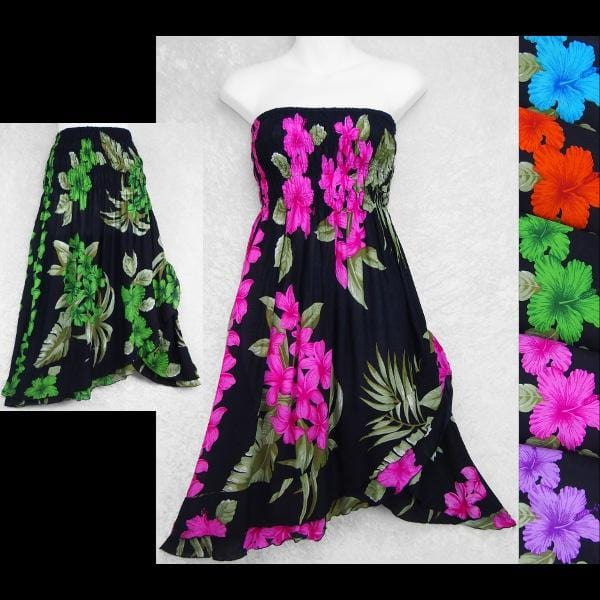 Orchid and Hibiscus Convertible Dress/Skirt-Dresses-Peaceful People