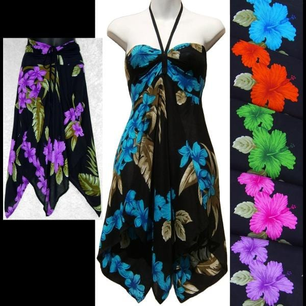 Orchid and Hibiscus Convertible Top/Skirt-Tops-Peaceful People