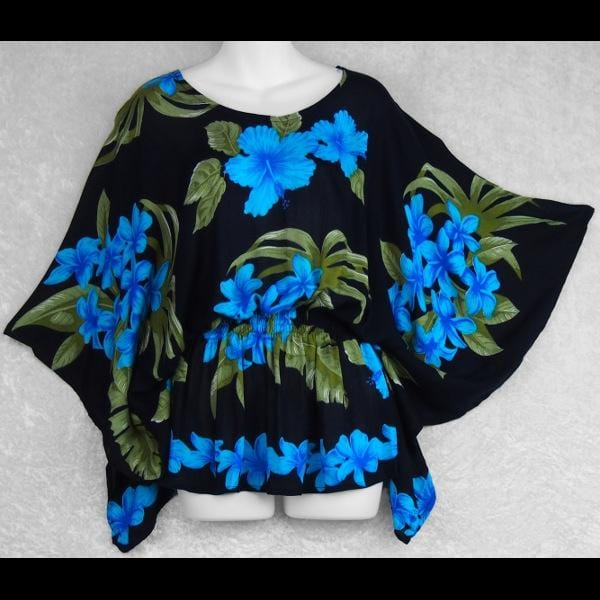 Orchid and Hibiscus Butterfly Poncho Top-Tops-Peaceful People
